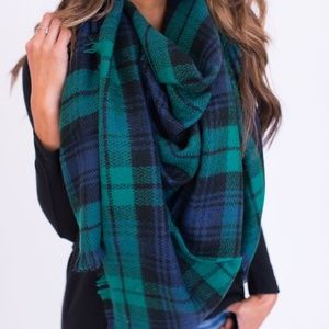Accessories - Oversized Blanket Scarf Green/Blue
